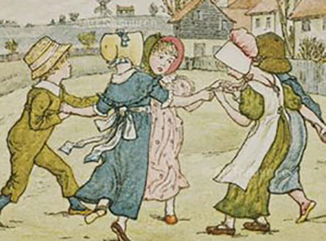 Growing up in today's England is far from the idyll depicted in this nineteenth-century lithograph. (KATE GREENAWAY/VICTORIA & ALBERT MUSEUM, LONDON/ART RESOURCE, NY)