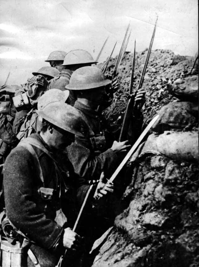 Canadian troops prepare for the charge over the top at the Battle of the Somme. (Photo by Hulton Archive/Getty Images)
