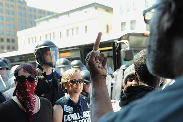 A recent anti-police protest in St. Louis (Photo by Michael B. Thomas/Getty Images)