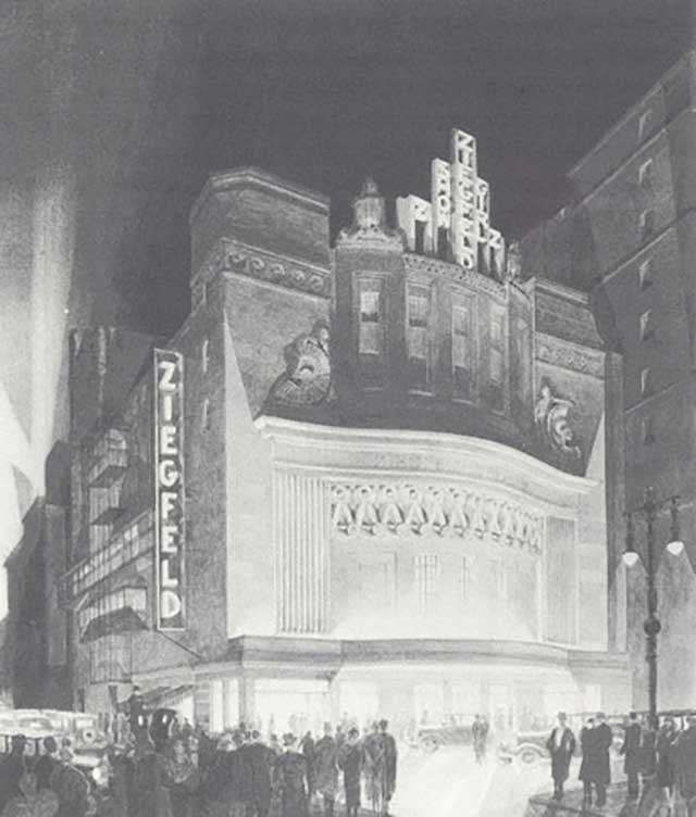 Ziegfeld Theatre, New York, facade, 1926–27 (Columbia University)