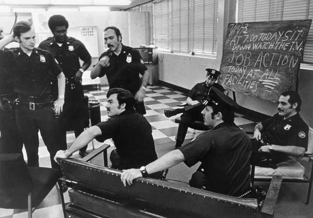 Strikes and job actions by Port Authority employees, like this 1973 police walkout, have pressured officials into granting union demands. (UPI/CORBIS)