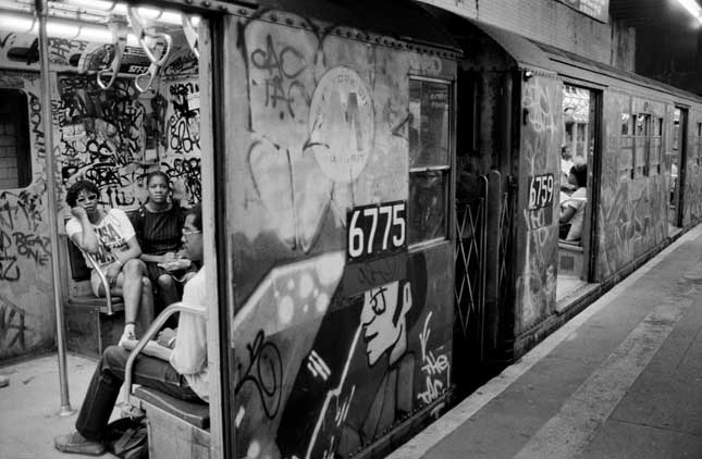 In the 1970s and 1980s, trains were defaced with graffiti, frequently out of service, and dangerous to ride. (FERDINANDO SCIANNA/MAGNUM PHOTOS)