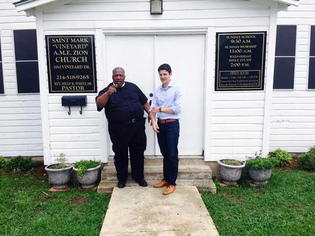 The Reverend Billy White, Sr., left, and Reid Porter, right, who runs a charitably funded organization that works in troubled neighborhoods to reduce crime and violence. (Courtesy of the Author)
