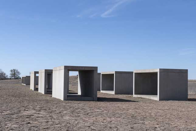 Untitled, box-like cubes, by minimalist sculptor Donald Judd, the key figure in the development of Marfa as an artist colony (Carol M. Highsmith/Buyenlarge/Getty Images)
