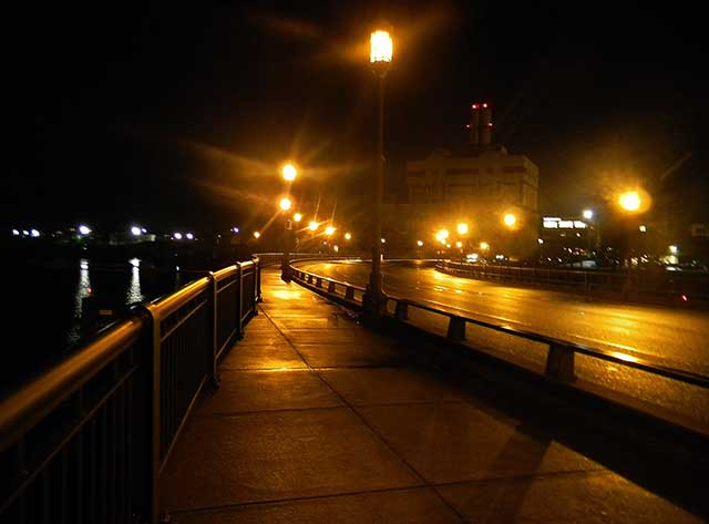 Summer Street at night, 2015, near the dock where Sullivan worked (COURTESY OF THE AUTHOR)