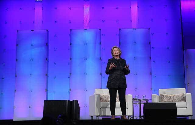 Hillary Clinton, speaking here at a Silicon Valley conference, drew strong support from technocratic elites. (JUSTIN SULLIVAN/GETTY IMAGES)