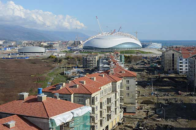 The $300 million Bolshoy Ice Dome, site of Olympic hockey competition and the games' closing ceremonies (ARTUR LEBEDEV/AP PHOTO)