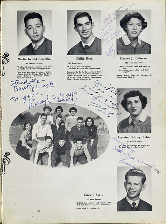 Roth in his yearbook photo, Class of 1950 . . . (PHOTO COURTESY OF THE JEWISH HISTORICAL SOCIETY OF NEW JERSEY)