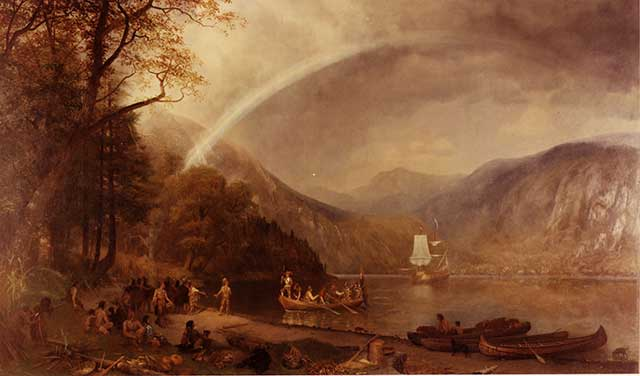 """The city has seen booms and busts ever since Henry Hudson sailed by in the """"Half Moon"""" in 1609, depicted here by Albert Bierstadt. (MPI/GETTY IMAGES)"""