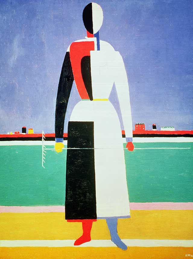 "Kazimir Malevich, ""Woman with a Rake"", 1928–32 (TRETYAKOV GALLERY, MOSCOW, RUSSIA / BRIDGEMAN IMAGES)"