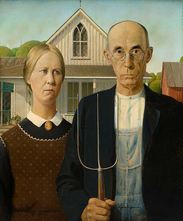 "Grant Wood's ""American Gothic"", 1930 (THE ART INSTITUTE OF CHICAGO / ART RESOURCE, NY)"