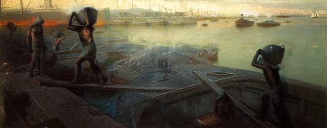 "Giovanni Battista, ""Loading Coal in Genoa Port,"" 1892 (SCALA / ART RESOURCE, NY)"
