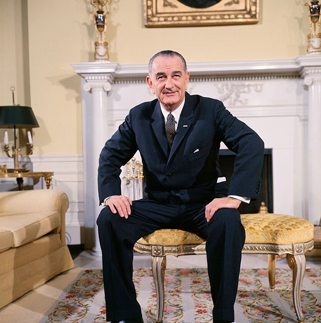 Breaking from his White House predecessor, John F. Kennedy, who emphasized pro-growth tax cuts, Lyndon B. Johnson launched the Great Society, which included major legislation redistributing income. (BETTMANN/GETTY IMAGES)