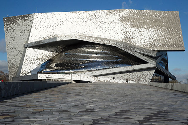 Jean Nouvel's Philharmonie de Paris, which opened in 2015, after years of delays and cost overruns, looks like an abandoned Klingon imperial outpost. (KENZO TRIBOUILLARD/AFP/GETTY IMAGES)
