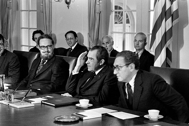Acting Attorney General Bork meeting with President Richard Nixon and Secretary of State Henry Kissinger in 1973, about a month after the Saturday Night Massacre (AP PHOTO)