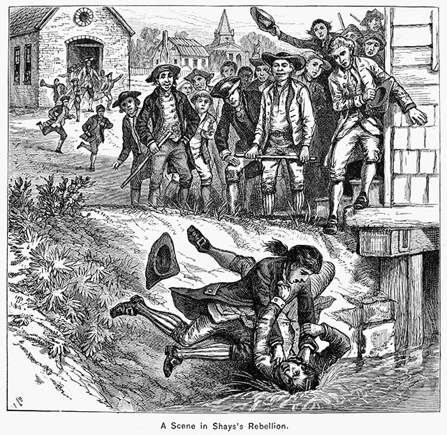 A nineteenth-century wood engraving illustrating a scuffle between opposing factions in Shays' Rebellion, near a Springfield courthouse (GRANGER / GRANGER — ALL RIGHTS RESERVED.)