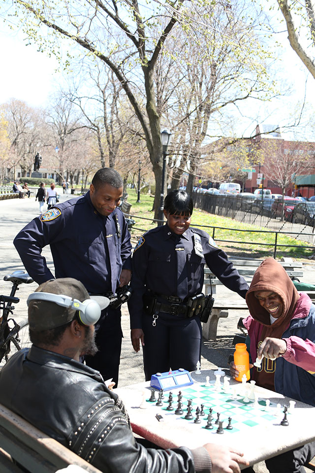 To build trust, the NYPD has emphasized neighborhood contacts. (SPENCER TUCKER/COURTESY OF NYPD)