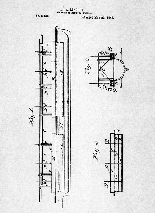 Lincoln's patent application for a new method to improve the buoyancy of ships in shallow waters (GRANGER)