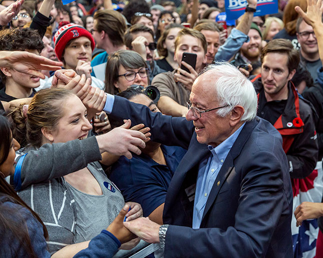 Bernie Sanders's proposal to spend more money on young people was a key component of his presidential run. (JIM WEST/REPORT DIGITAL-REA/RE DUX)