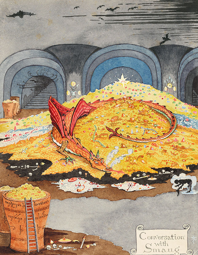 J. R. R. Tolkien (1892–1973), Conversation with Smaug, July 1937, black and colored ink, watercolor, white body color, pencil. Bodleian Libraries, MS. Tolkien Drawings 30. © The Tolkien Estate Limited 1937.