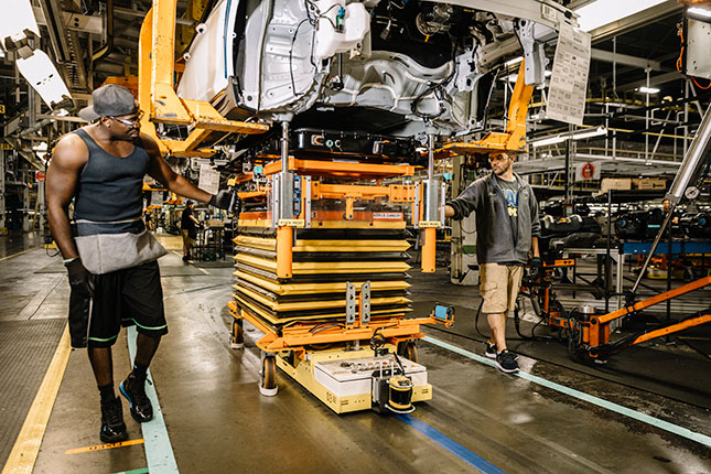 General Motors' Orion assembly plant, near Detroit: recent tax cuts in places like Michigan have helped encourage more industrial investment. (WILLIAM WIDMER/REDUX)