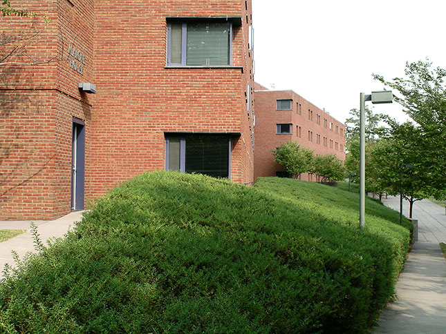 UVA housing project: a view of Hereford College (1992) by Tod Williams Billie Tsien Architects. (Photo by Catesby Leigh)