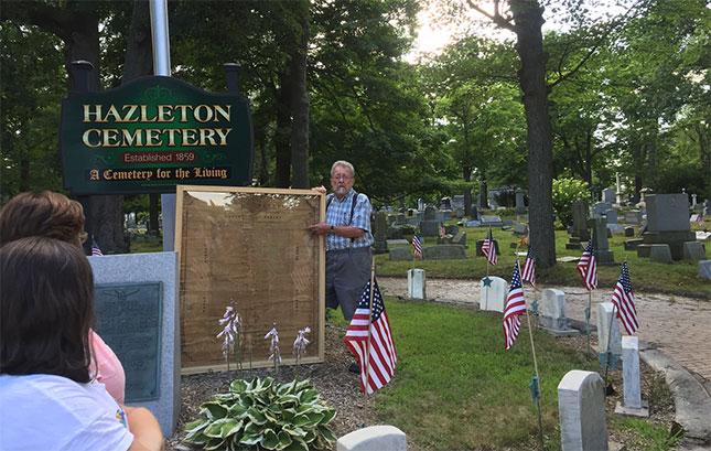 John Probert, president of the Hazleton Cemetery Association, leading a historic tour of the city's Vine Street Cemetery