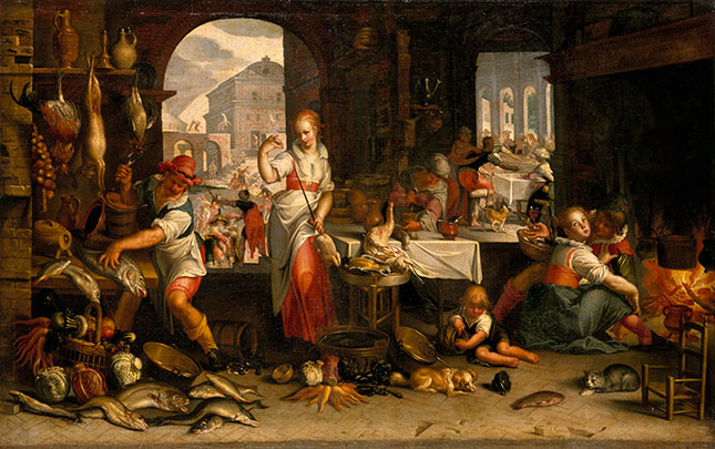 The vivid, seemingly three-dimensional paintings of the Baroque era, such as Kitchen Scene (1605), by Joachim Wtewael, are far more lifelike than those of the fourteenth century. (© RMN-GRAND PALAIS/ART RESOURCE, NY)