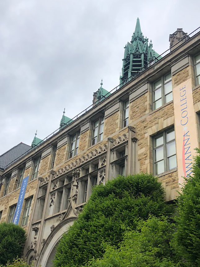 Built in 1896, Lackawanna College's Angeli Hall, formerly Scranton's Central High School, commands its block.