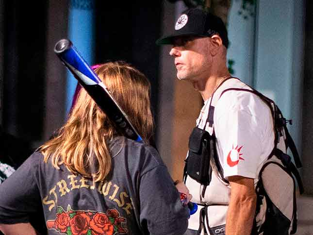 """""""I'm trying to give her an education,"""" said antifascist radical Michael Reinoehl of his 16-year-old daughter, who often accompanied him to protests and riots before he murdered a Trump supporter in downtown Portland. (BETH NAKAMURA/THE OREGONIAN/AP PHOTO)"""