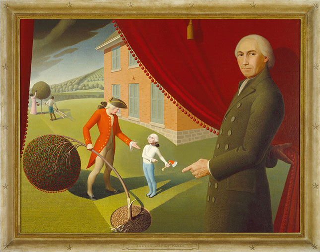 Parson Weems' Fable (1939), by Grant Wood (GRANT WOOD (1891-1942), PARSON WEEMS' FABLE, 1939, OIL ON CANVAS, ACCESSION NUMBER 1970.43, AMON CARTER MUSEUM OF AMERICAN ART, FORT WORTH, TEXAS)