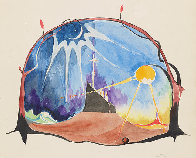 J. R. R. Tolkien (1892–1973), The Shores of Faery, 10 May 1915, watercolor, black ink, pencil. Tolkien Trust, MS. Tolkien Drawings 87, fol. 22r. © The Tolkien Trust 1995.