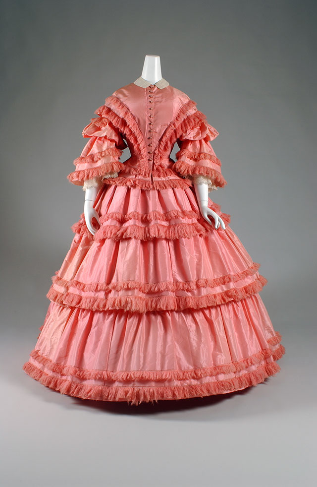 Afternoon Dress, pink silk taffeta, 1857, courtesy FIT