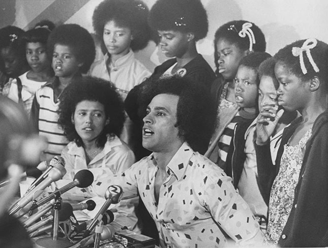 """Teaching for Black Lives"" celebrates Black Panther leaders like Huey Newton (shown here in 1977) as human rights champions and decries their persecution by law enforcement. (BILL CROUCH/DIGITAL FIRST MEDIA GROUP/OAKLAND TRIBUNE/GETTY IMAGES)"