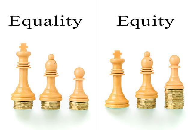 This common illustration (and variants online) exemplifies activists' argument that equality of opportunity is not enough because some groups still wind up with less; only equity, which involves redistributing resources, is fair. (SELU GALLEGO/ALAMY STOCK)