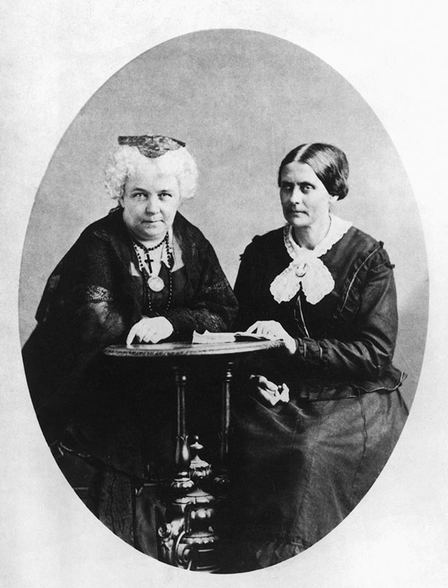 The godmothers of First Wave feminism, Elizabeth Cady Stanton (left) and Susan B. Anthony, met at a temperance meeting in 1851 and later turned their energies toward women's rights. (Bettmann/Getty Images)