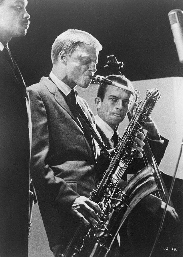 Native New Yorker Gerry Mulligan (above) hitchhiked in 1951 to Los Angeles, where his career took off. (GALAXY ATTRACTIONS/PHOTOFEST)