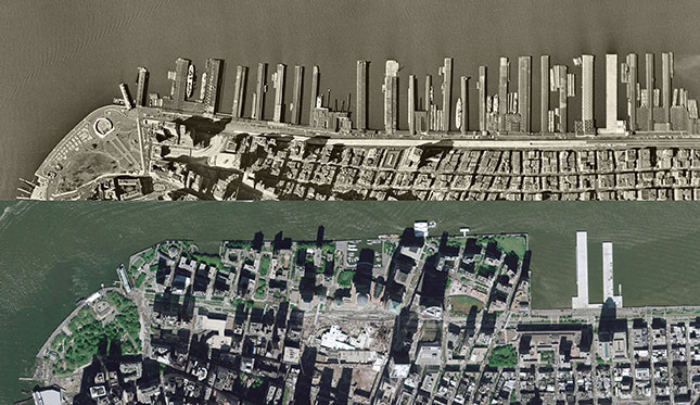A historical aerial comparison: the Manhattan waterfront in 1954; and, 50 years later, Battery Park City, built on landfill (AERIAL ARCHIVES/ALAMY STOCK PHOTO)