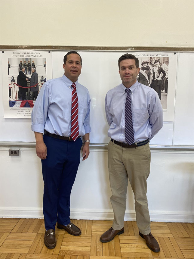 Jonathan Marron and Michael King, history teachers at St. Mary's (photo courtesy of author)