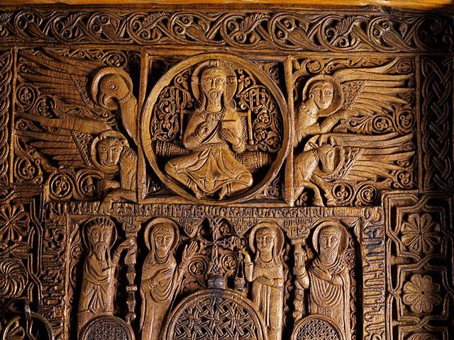 Carved Door (detail). Church of the Holy Apostles (Surb Arak'elots'), Monastery of Sevan (Sevanavank'), Lake Sevan, 1486. Walnut. 731⁄4 × 389⁄16 × 77⁄8 in. (186 × 98 × 20 cm). History Museum of Armenia, Yerevan (86)