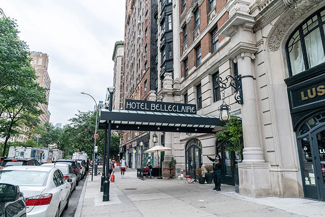 Sheltering the homeless in converted local hotels like the Belleclaire on the Upper West Side has led to rising disorder and growing protest among neighborhood groups. (LEV RADIN/PACIFIC PRESS MEDIA PRODUCTION CORP./ALAMY LIVE NEWS)