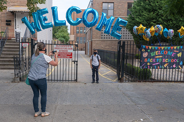 Drawing on greater levels of parental trust, many of the city's religious schools, like Immaculate Conception Academy, managed to conduct in-person learning during the pandemic. (RON ADAR/SOPA IMAGES/LIGHTROCKET/GETTY IMAGES)