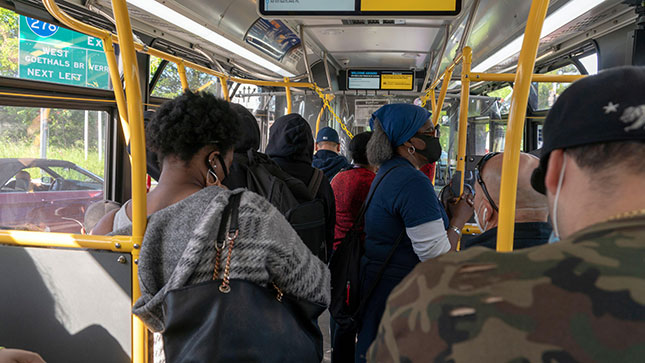 The pandemic drove home how much essential workers rely on buses to get to their jobs; bus use exceeded subway use during the lockdown. (ZUMA PRESS, INC./ALAMY STOCK PHOTO)