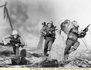 In Sands of Iwo Jima (1949), John Wayne's Sergeant Stryker (center) must steep himself in violence, and make physical and spiritual sacrifices, to defend civilization.