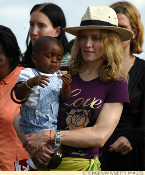 Celebrity Africrat Madonna, who's 'kind of adopting an entire country of children.'