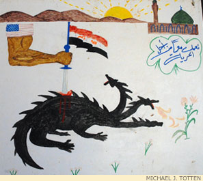 In an Iraqi child's drawing, American might slays the monstrous insurgency.