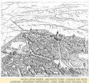 Krier's sketch of Poundbury, the Dorset city that he is planning on invitation from the Prince of Wales