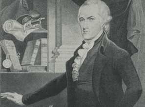 Hamilton as secretary of the Treasury, with his Continental Army hat and sword representing his military glory and his Report on Credit his renown as a statesman