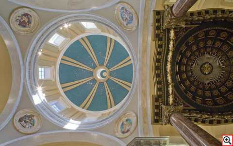 The ceiling of the Stroik-designed Shrine of Our Lady of Guadalupe in LaCrosse, Wisconsin.