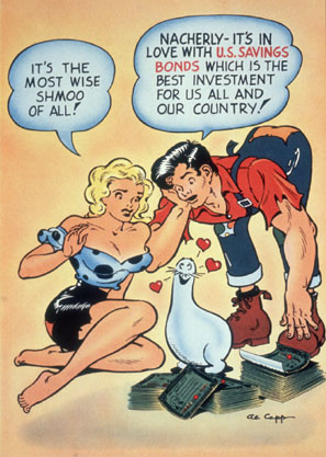 The federal government used Capp's popular characters, Daisy Mae and Li'l Abner, to promote savings bonds.